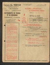 "PARIS (XI°) BALANCE / PESEE / INSTRUMENTS de MESURE ""Ets. Ch. TESTUT"" en 1925"