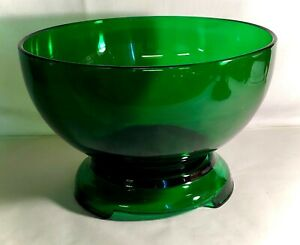 Hocking Forest Green Punch Bowl And Base