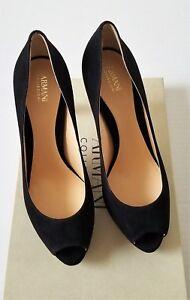 Armani Collezioni womens shoes suede peep toe heels, black Size EU 39