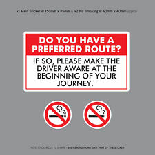 Have a Preferred Route Sticker Taxi Minicab Driver Car Sign Notice - SKU3121