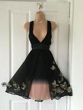 Karen Millen Black/Pink Silk Butterfly Dress Size 10