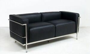 Classic design Le corbusier style LC3 love seat in genuine top grain leather