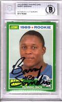 "BARRY SANDERS Signed 1989 SCORE ROOKIE Card ""DETROIT LIONS"" BECKETT BAS SLABBED"