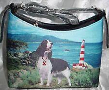 Springer Spaniel Dog Theme Hobo Style Microfiber Handbag