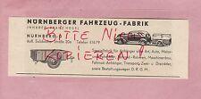 NÜRNBERG, Werbung 1949 Karosserie-Fahrzeug-Fabrik Franz Hössl Auto-Rad-Anhänger