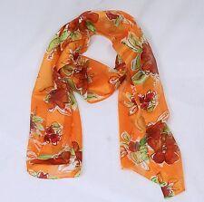 Halstuch Schal Orange mit Blumen Rot Grün Weiß  NEU