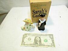 2 Sarah's Attic Snowonders May Blossom 6404 Snowman & Graduation Boy Figurines