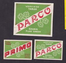 Anciennes étiquettes Allumettes  Belgique BN45782 Tabac Parco