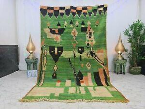"""Moroccan Handmade Boujaad Rug 5'3""""x8'4"""" Abstract Berber Green Black Wool Rug"""