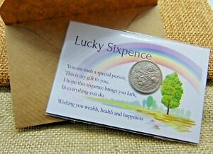 60th Birthday Gift - 1961 - LUCKY SIXPENCE COIN CARD - With Envelope (Birthday)