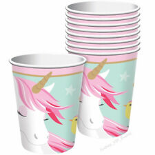 MAGICAL UNICORN BIRTHDAY PARTY PAPER CUPS FLORA  266ML DRINKING BEVERAGE 8PK