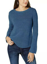 NWT Style & Co. Mixed-Stitch Crew-Neck Sweater Blue Size L