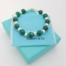 Tiffany & Co. Sterling Silver & Malachite Beaded Ball 8' Inch Bracelet Pouch Box