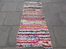 Old Hand Made Moroccan Boucherouite Cotton Fabric Pink Rug Runner 184x75cm