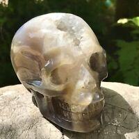572g Crystal Skull Healing Geode Ornament Statue Figurine Sculpture Hand Carved