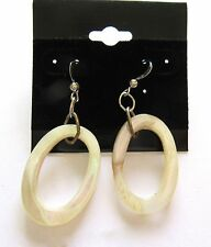 - French Wire silver toned Fashion Earrings- Ovals White Open