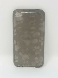 Puppy Paw Print TPU Dark Gray Rubber Case For 4th Gen iPod Touch, (8089)
