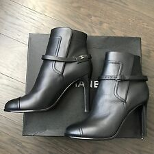 New Chanel Women Ankle Black Leather CC Logo Boots Shoes Size 38 1/2