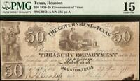 1838 $50 GOVERNMENT of TEXAS HOUSTON BANK NOTE LARGE CURRENCY PAPER MONEY PMG 15
