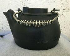 Heavy Cast Iron Tea Kettle TeaPot  Swivel Lid Coil Handle @ 10 lbs - 9x7x6 EUC
