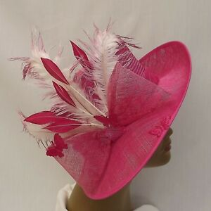 Fuchsia Sinamay Hat for Weddings, Races, Garden Parties, Ceremonies and more