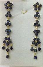 Natural Blue Pear Sapphire Dangle Stud Earrings14k Solid Yellow Gold11.95CT8.30G