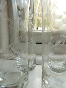 Vintage Set x 4 Etched Florals & Leaves Tall Hi Ball Tumbler Glasses 18cm