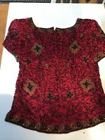 Women's Silk  Red Beaded Top  ADRIANNA PAPELL 100 % Silk.Size 8