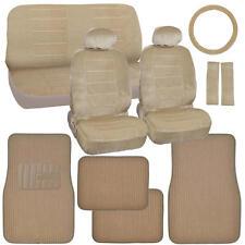 Car Seat Covers & Ribbed Floor Mats – Beige Velourette w/ Tan Corduroy