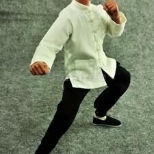"1/6 Fist of Fury Black Suit Kung Fu White Shirt Set for 12"" Enterbay Bruce Lee"