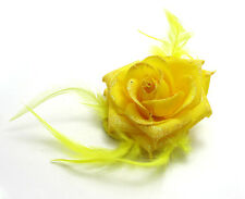 Hot Rose Flower Feather Headdress Wrist Corsage Hair Band  Brooch Yellow color