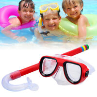 Child Diving Snorkeling Swimming Scuba Total Dry Snorkel & Mask Glass Lens PVC W