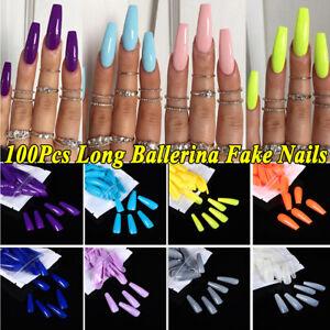 100Pcs False Nail Tips Matte Full Cover Long Coffin Fake Nail Arts Manicure Set
