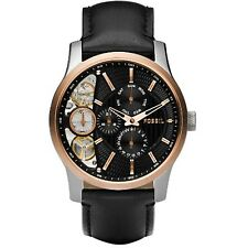 Fossil Men's Mechanical Twist ME1099 Black Leather Quartz Dress Watch