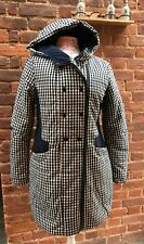 JYBY Navy Blue White Gingham Check Hooded Padded Coat Parka Puffa 12 14
