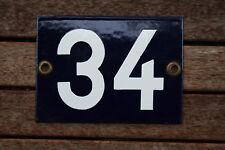 Hausnummer 34 Emaille blau 11 x 15cm