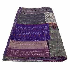 Twin Size Vintage 100% Silk Bohemian Patchwork Quilt Kantha Handmade Quilt Throw