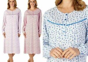 Ladies Slenderella 100% Cotton Floral Long Sleeve Jersey Nightdress UK 10-30