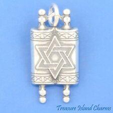 TORAH JUDAIC SCROLL HEBREW JEWISH .925 Sterling Silver Charm Pendant DAVID STAR