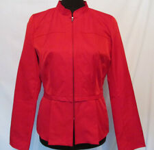 Cynthia Rowley Red Jacket Blazer Pleated Top Size Small Long Sleeve Zippered