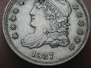 1837/7 Capped Bust Half Dime- Large 5C, AU Details