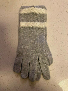 Talbots Tech-Touch Cable Stripe Gray & Cream Winter Mittens Gloves NWT