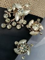 Vintage High End Champagne Greenish Frost Rhinestone Brooch & Clip Earrings Set