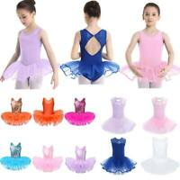 Girls Kids Ballet Dance Dress Skating Gym Tutu Skirts Christmas Sequins Costumes
