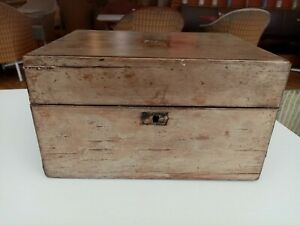 Antique Victorian wood wooden box for restoration / repair, mother of pearl trim
