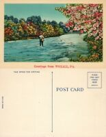 VINTAGE POSTCARD GREETINGS FROM WOXALL PA