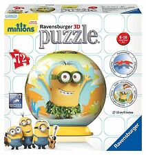 RAVENSBURGER MINIONS 72pc 3D JIGSAW PUZZLE WITH STAND HAWAII GLOBE PUZZLEBALL