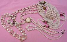 Vintage Lot White Art Glass Polka Dot Czech Bead AB Crystal Necklace Bracelet