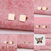 Titanium Steel Girl Women Earring Mini Star Triangle Ear Stud Delicate Gift
