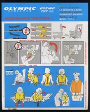 OLYMPIC Airlines SAFETY CARD Boeing 737 400 airline brochure memorabilia ee e607